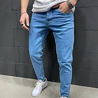 Однотонні сині джинси чоловічі, зауженые на кожен день | Виробник Туреччина