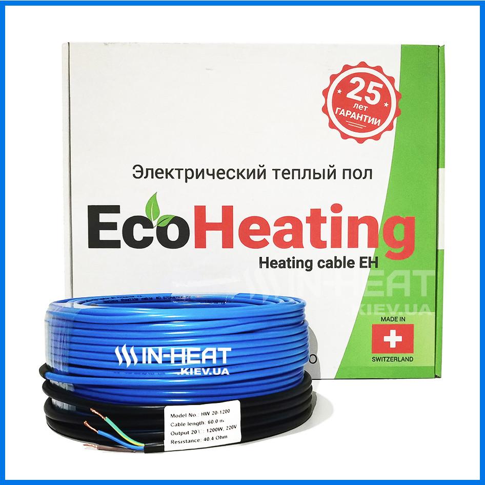 Нагревательный кабель EcoHeating 20 / 10 м / 1 - 1.2 м² / 200 Вт / электро пол с подогревом