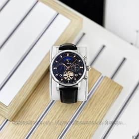 Оригинальные Мужские Наручные часы механика с автоподзаводом Brucke J025 Black-Silver / кожаный ремешок