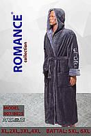 5-принтов!Мужской махровый серый халат SPORT Romance с капюшоном на запах и 2 кармана