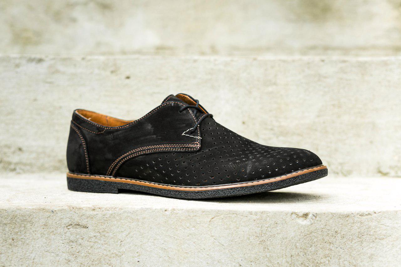Туфлі замшеві VadRus з перфорацією, чорні - 43 розмір