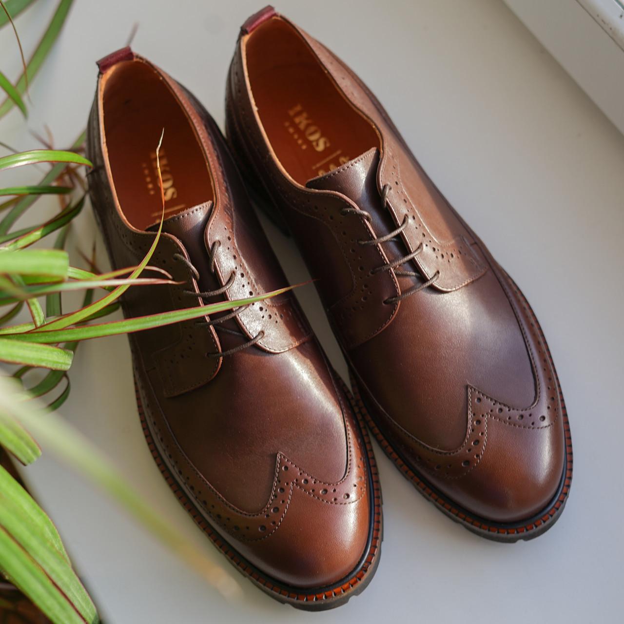Туфли броги коричневые  Ікос 322 - 45 размер