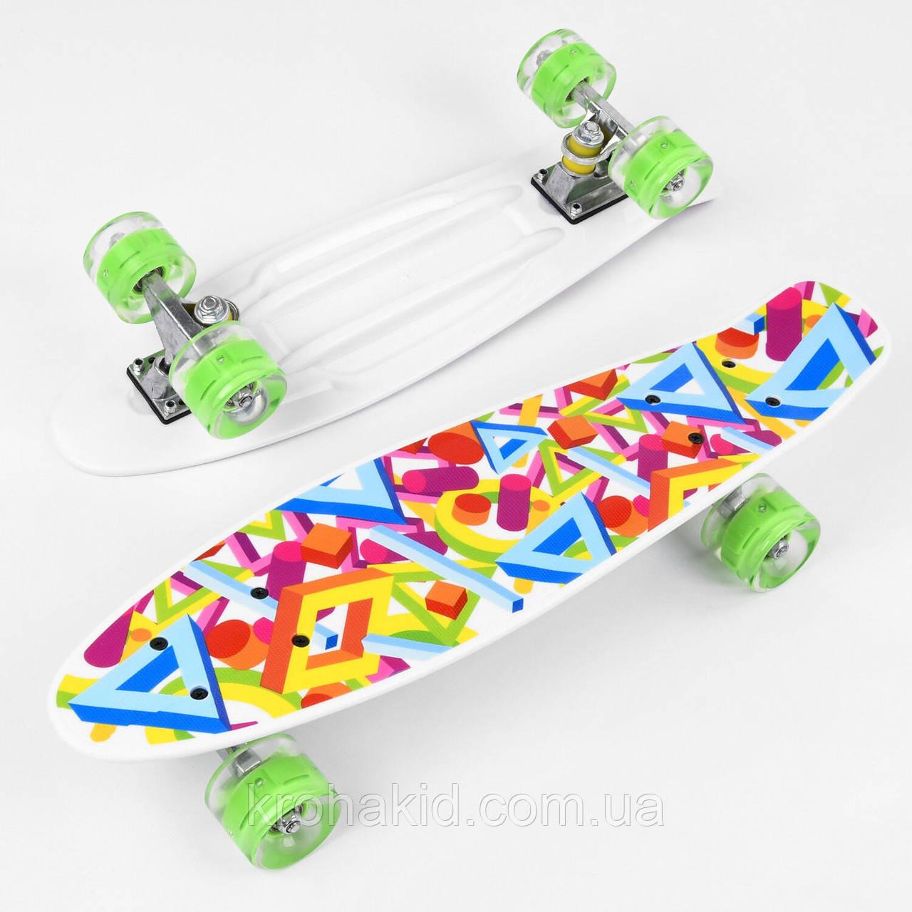 Скейт Пенни борд (Penny Board) Best Board 10765 со светящимися колесами, доска=55см, колёса PU d=6см