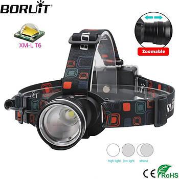 Светодиодный налобный фонарь с зумом для рыбалки и охоты  BORUIT RJ-2166 Black 3*AA, LED T6 (RJ020 / 2bc )