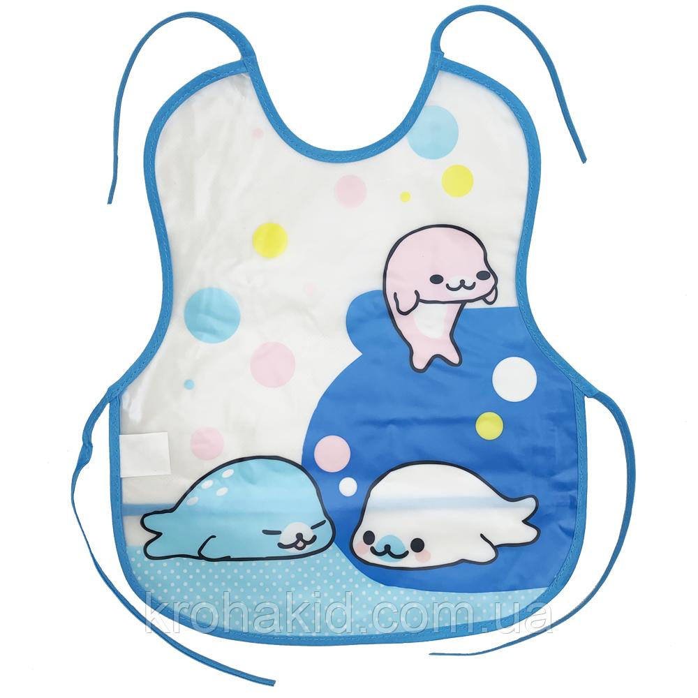 Слинявчик непромокальний для їжі з кишенею / м'який нагрудник для малюка з кишенею