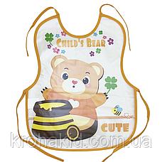 Слинявчик непромокальний для їжі з кишенею / м'який нагрудник для малюка з кишенею, фото 3