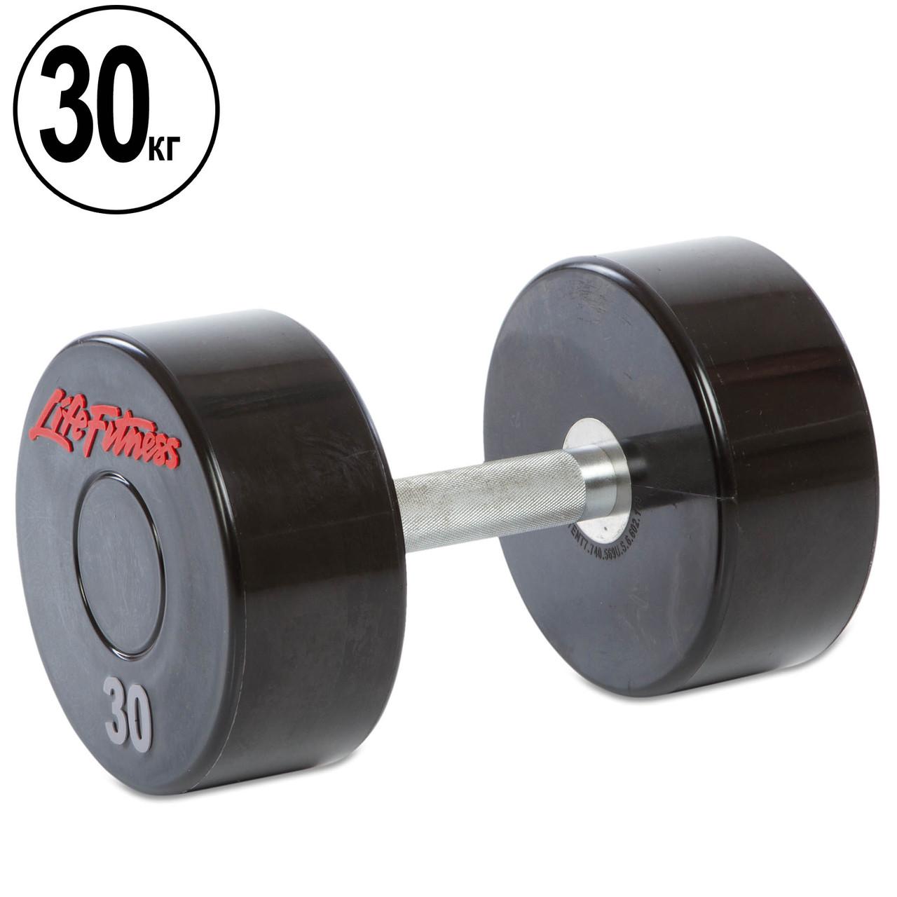 Гантель цельная профессиональная Life Fitness (1шт) 30кг (полиуретановое покрытие, вес 30кг)