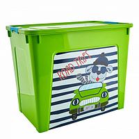 Контейнер Алеана Smart box с декором My car 40 л Оливковый-Оливковый
