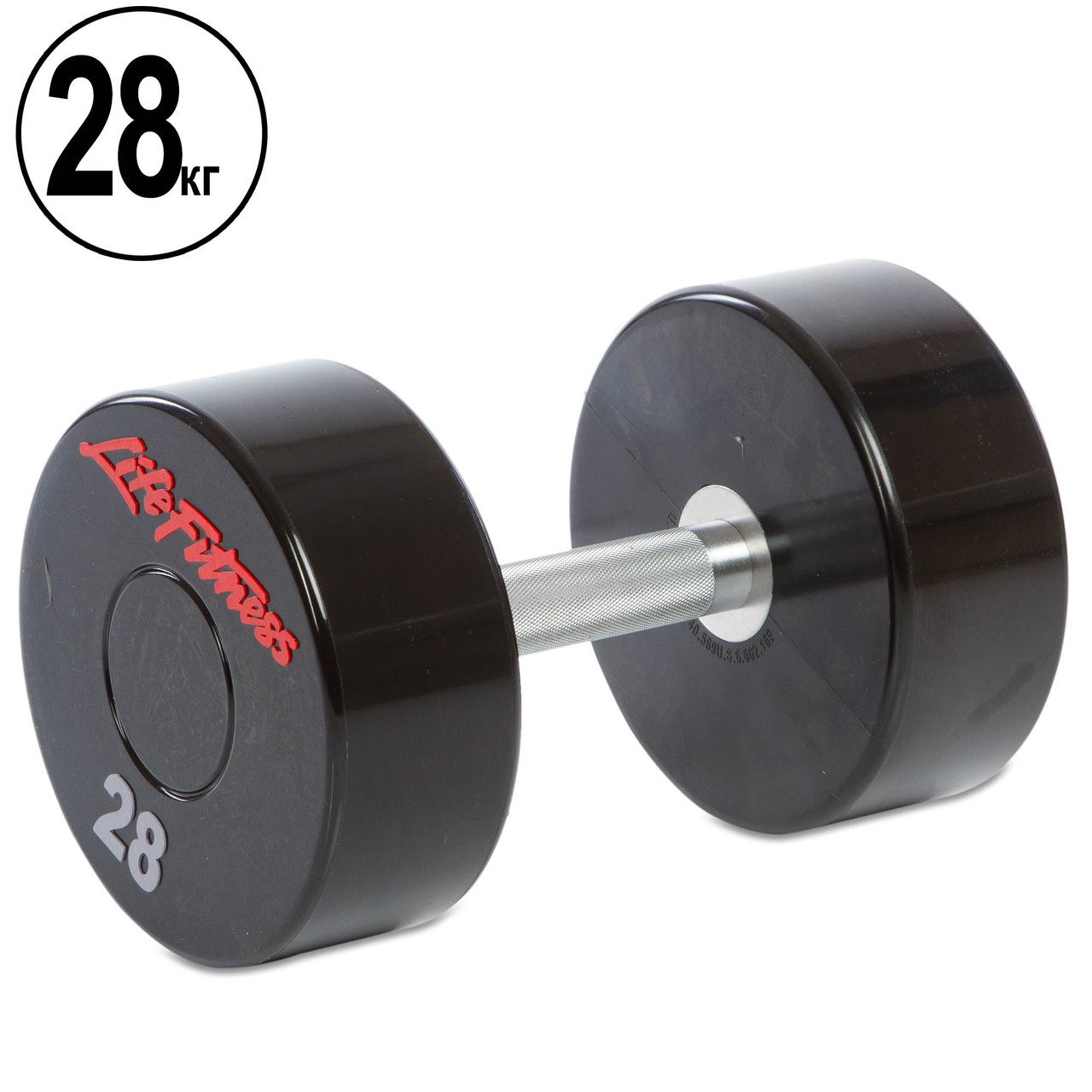 Гантель 28кг цілісна професійна Life Fitness (1шт) (поліуретанове покриття, вага 28кг)
