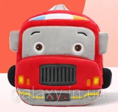 Рюкзак детский Fire плюшевый для мальчика Пожарная Машина на 3-5 лет сумка в садик