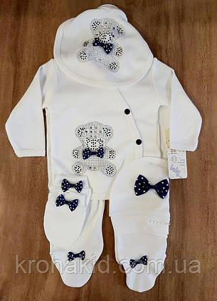 Костюмчик інтерлок для новонароджених (56 см, 62 см): повзунки, сорочечка, шапочка, фото 2