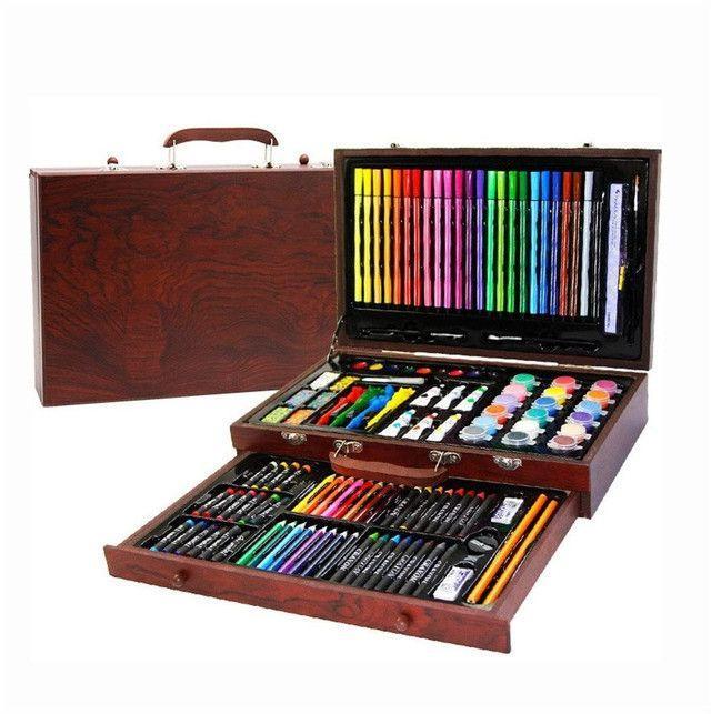 Набір для дитячої творчості у дерев'яній валізі з 123 предметів | Набір для малювання