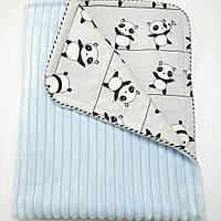 Конверт-плед детский демисезонный для мальчика, из голубого плюша Минки страйп волна и польского серого хлопка