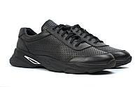 Мужские летние кроссовки черные кожаные кеды обувь больших размеров Rosso Avangard Ada PerfLeath BS, фото 1