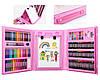 Набор для детского творчества в чемодане из 208 предметов | Набор для рисования с мольбертом розовый, фото 2