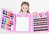 Набор для детского творчества в чемодане из 208 предметов | Набор для рисования с мольбертом розовый, фото 4