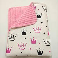 Конверт-плед детский демисезонный для девочки, из розового плюша Минки страйп полоска, и из 100%белого хлопка