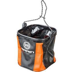 Ведро для воды Brain магкое без крышки черный-оранжевый