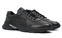 Мужские летние кроссовки черные кожаные кеды обувь сетка Rosso Avangard Ada PerfLeath