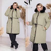 Тепле пальто жіноче-парку великих розмірів з хутром на капюшоні р. 46-60. Арт-1655/24