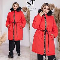 Тепле пальто жіноче-парку великих розмірів з хутром на капюшоні р. 46-60. Арт-1655/24 червоне