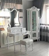 Белый туалетный столик с зеркалом Моника Барокко стиль