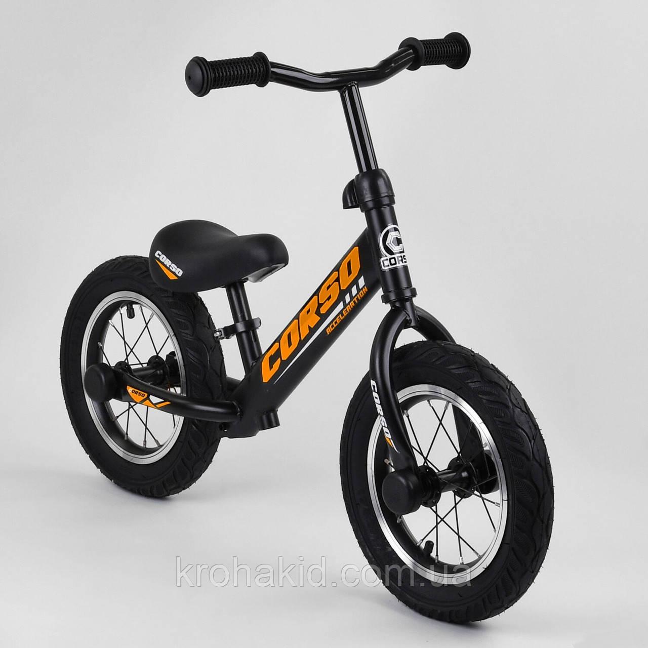 """Детский велобег """"CORSO"""" 69280, стальная рама, надувные колёса, размер колес - 12 (черный)"""
