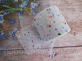 Фатин-сетка с мелкими блестками и пайетками, ширина 55 мм, (цвет белый), 1 рулон, 15 ярдов