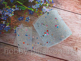 Фатин-сетка с мелкими блестками и пайетками, ширина 55 мм, (цвет нежно-голубой), 1 рулон, 15 ярдов
