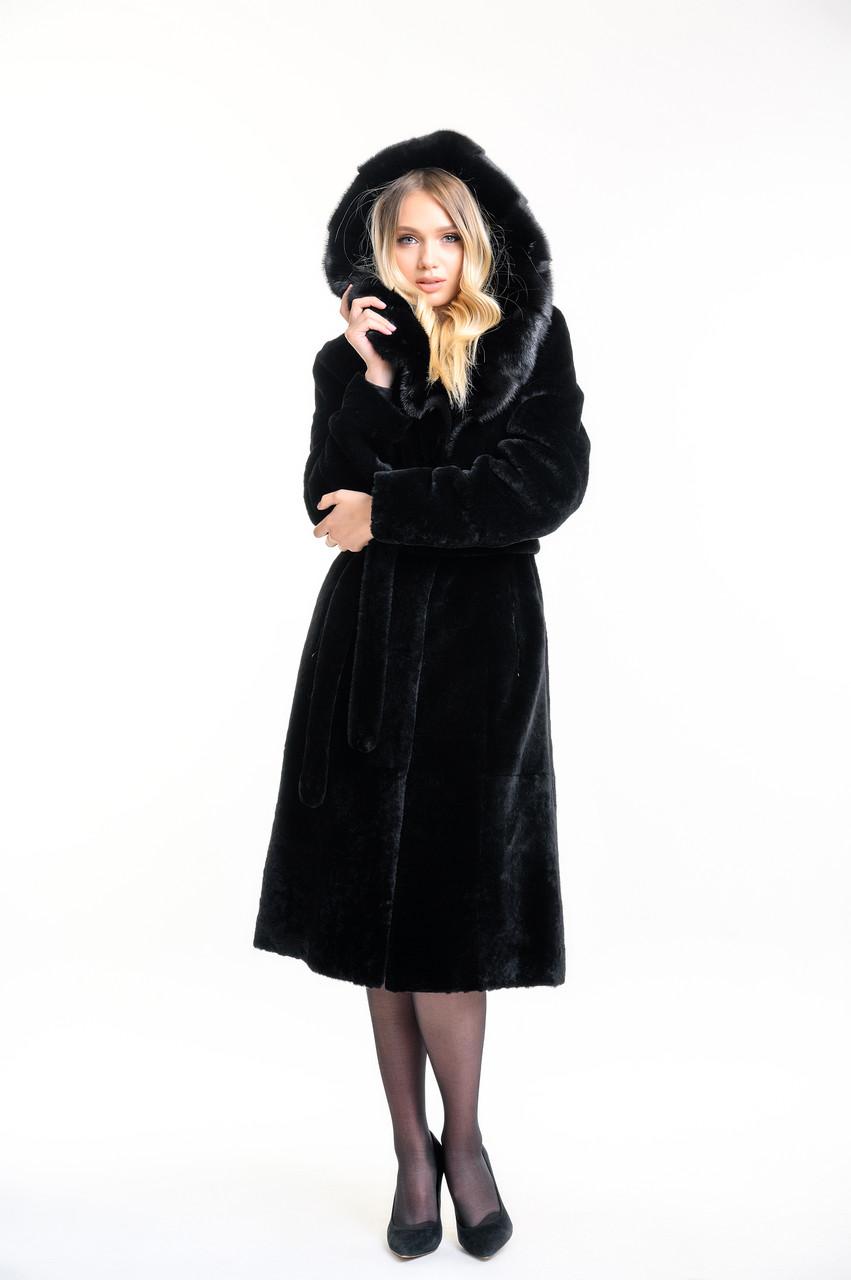 Шуба женская натуральная из бобра чёрная с капюшоном из норки