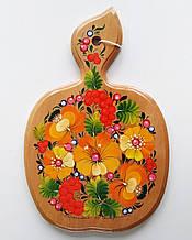 Доска разделочная кухонная , яблуко,  петриковская роспись