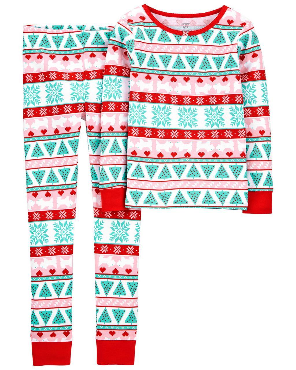 Хлопковая пижама с длинным рукавом для девочки Carters Собачки и узоры