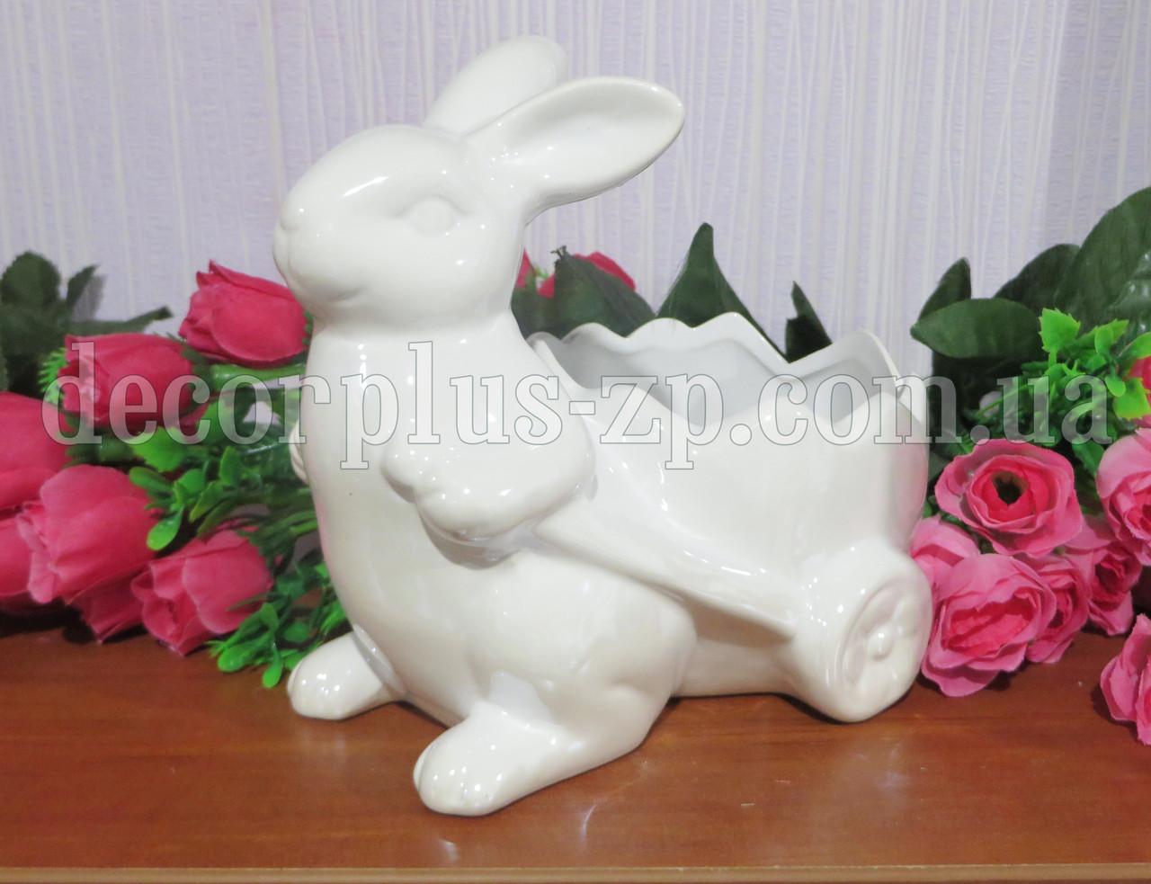 """Керамическое кашпо """"Кролик"""". Белое"""