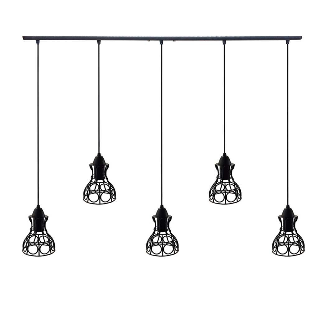 Підвісна люстра на 5 ламп RINGS-5 E27 чорний