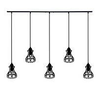 Підвісна люстра на 5 ламп RINGS-5 E27 чорний, фото 1