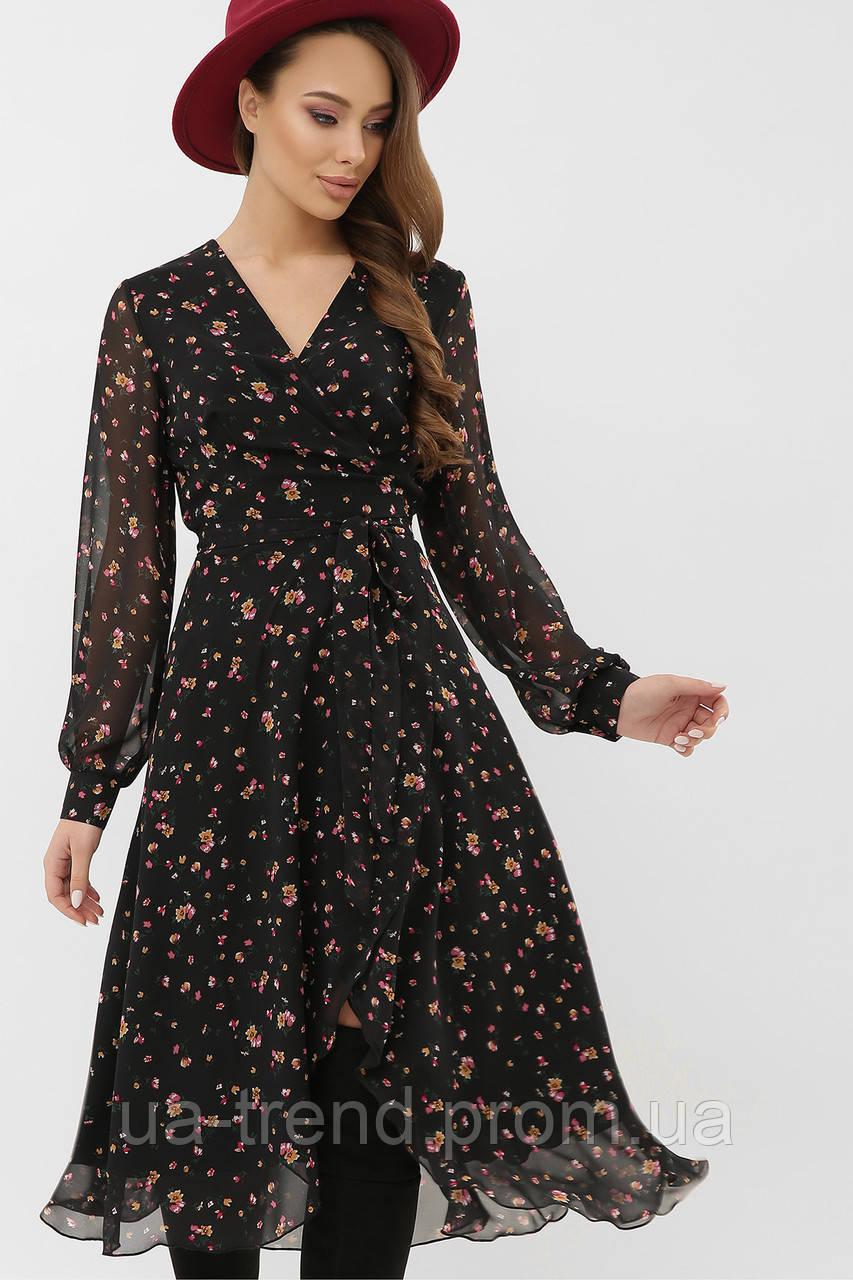 Черное шифоное платье миди в цветочек