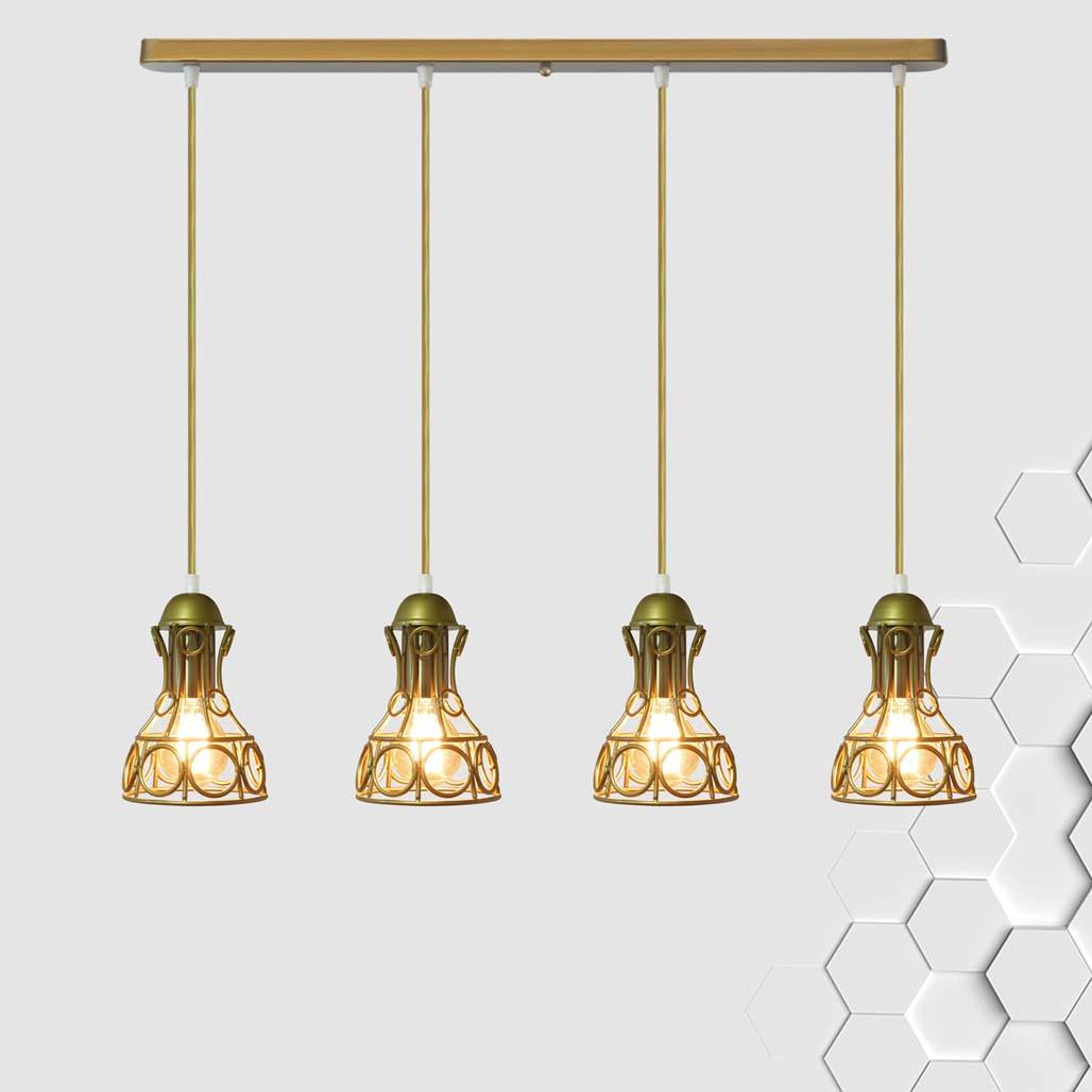 Подвесная люстра на 4-лампы RINGS-4 E27 золото