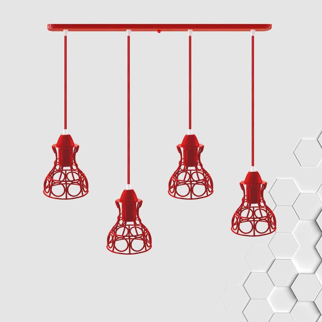 Подвесная люстра на 4-лампы RINGS-4 E27 красный