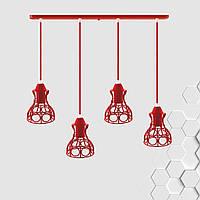 Подвесная люстра на 4-лампы RINGS-4 E27 красный, фото 1