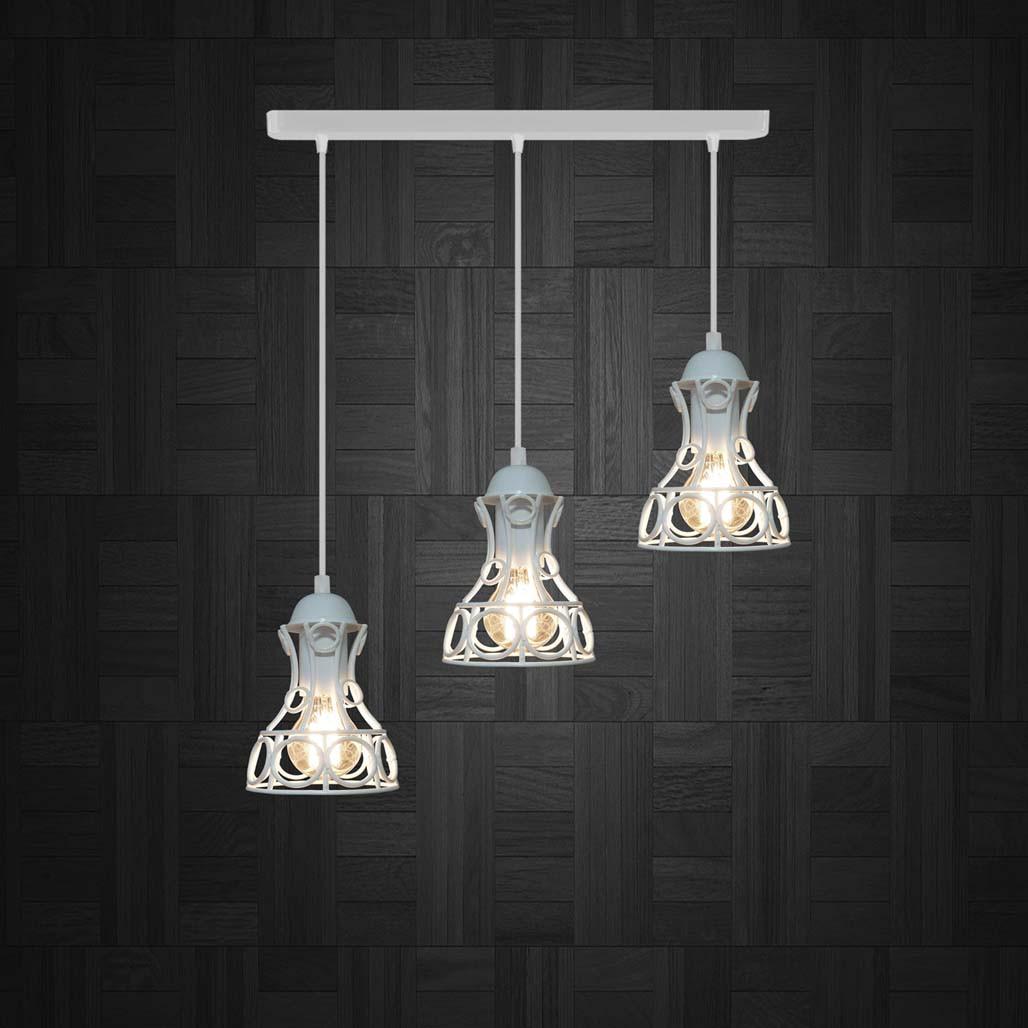 Подвесная люстра на 3-лампы RINGS-3 E27 белый