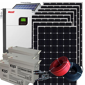 5 кВт автономная солнечная электростанция с инвертором MUST 5кВт/48В ШИМ и резервом АКБ 4,8 кВт*ч