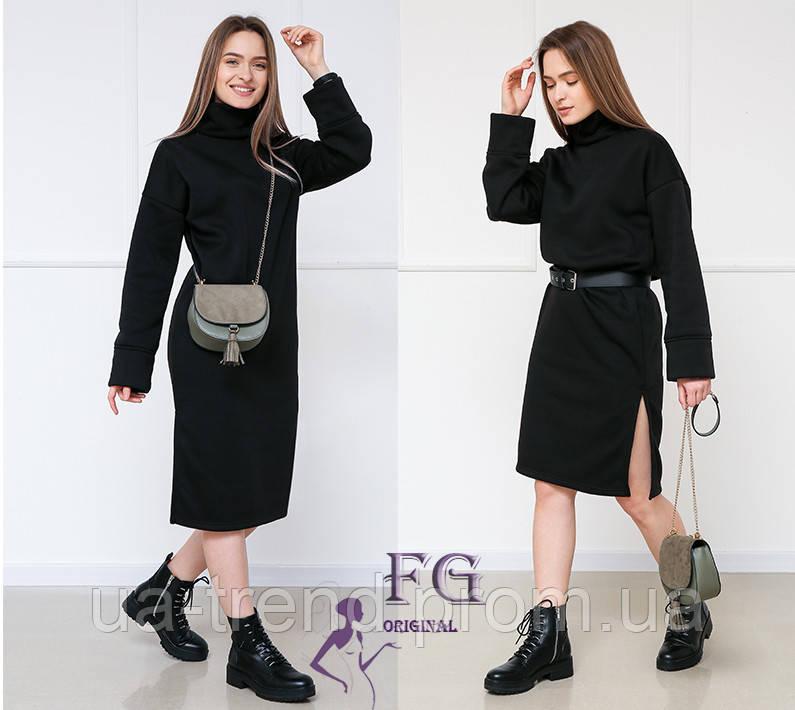 Теплое черное платье миди оверсайз