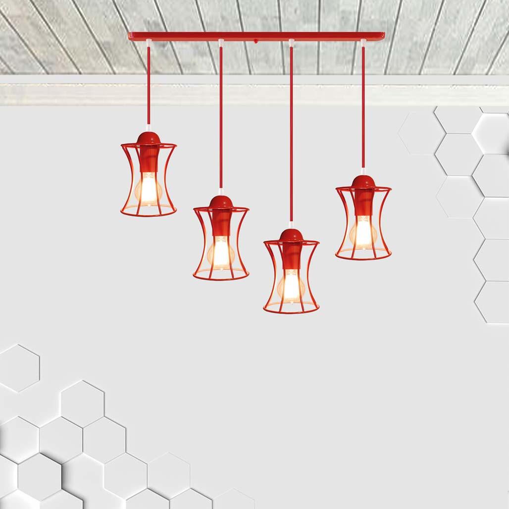 Подвесная люстра на 4-лампы SANDBOX-4 E27 красный