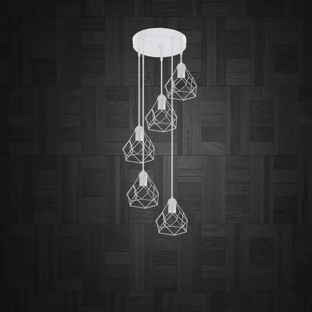 Підвісна люстра на 5 ламп RUBY-5G E27 на круглій основі, білий