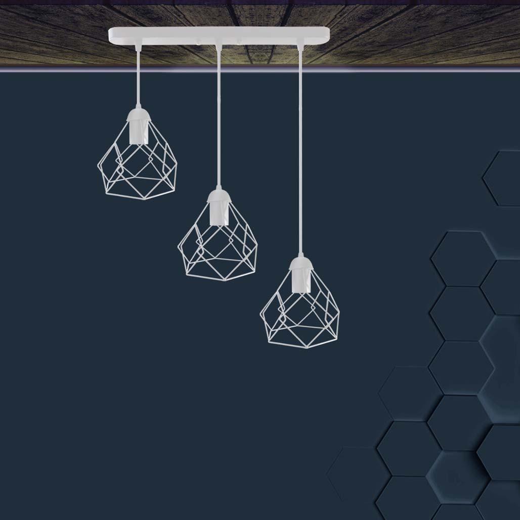 Подвесная люстра на 3-лампы RUBY-3 E27 белый