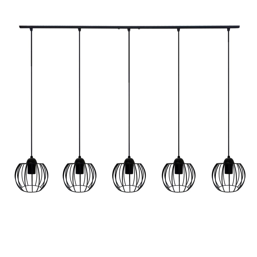 Підвісна люстра на 5 ламп BARREL-5 E27 чорний