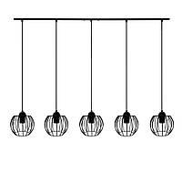 Підвісна люстра на 5 ламп BARREL-5 E27 чорний, фото 1