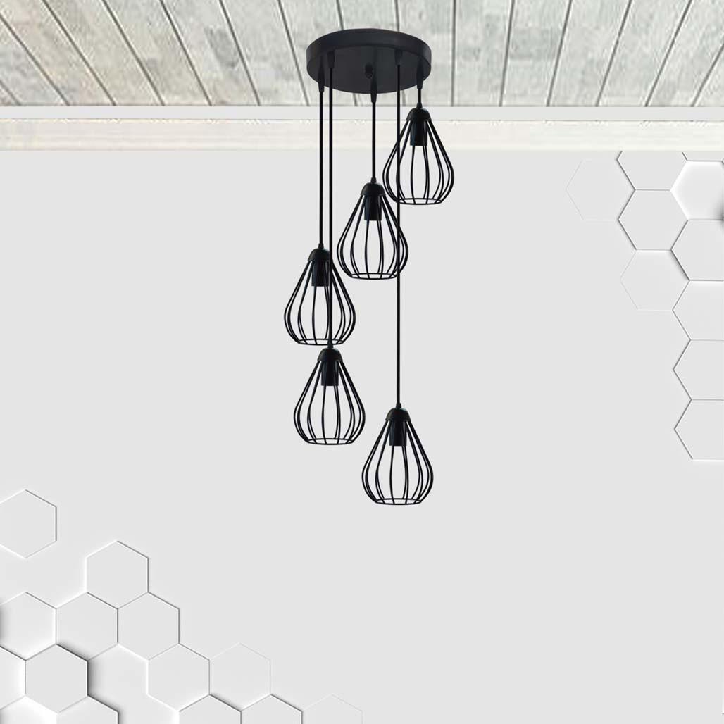 Підвісна люстра на 5 ламп FANTASY-5G E27 на круглій основі, чорний