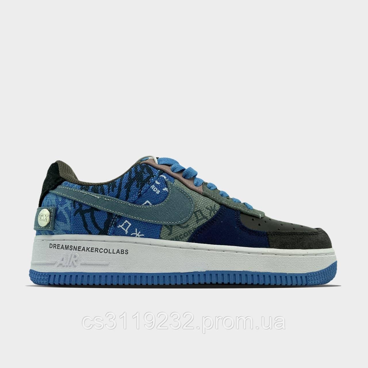 Мужские кроссовки Nike Air Force 1 Low Travis Scott Blue(голубые)