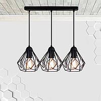 Подвесная люстра на 3-лампы SKRAB-3 E27 чёрный, фото 1